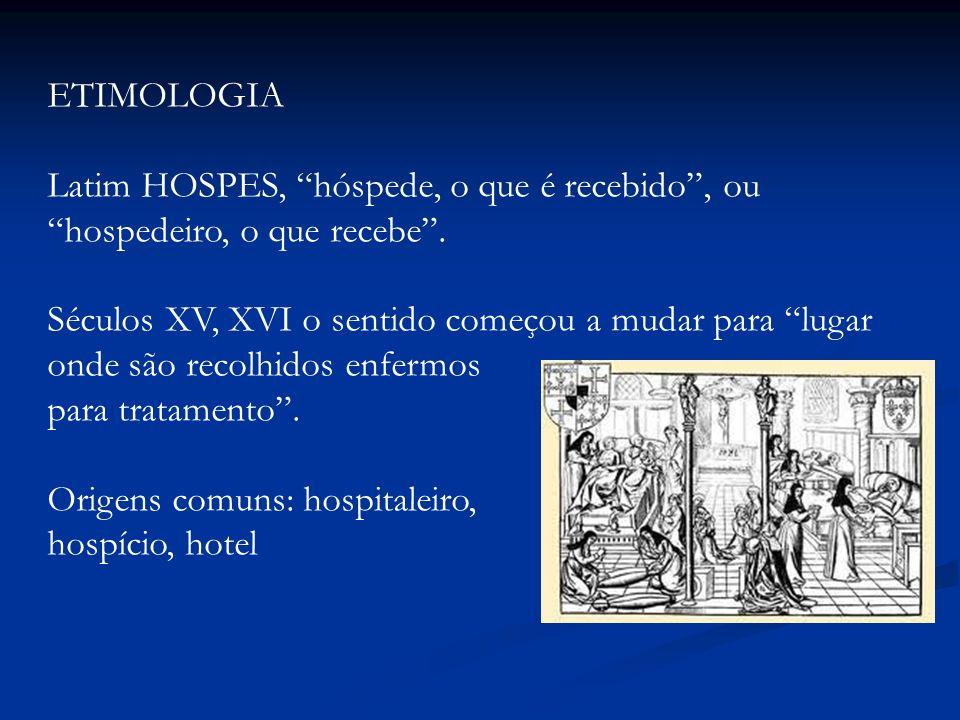 ETIMOLOGIA Latim HOSPES, hóspede, o que é recebido, ou hospedeiro, o que recebe. Séculos XV, XVI o sentido começou a mudar para lugar onde são recolhi