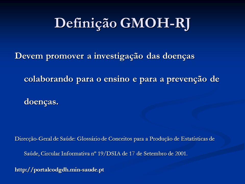 Definição GMOH-RJ Devem promover a investigação das doenças colaborando para o ensino e para a prevenção de doenças. Direcção-Geral de Saúde: Glossári
