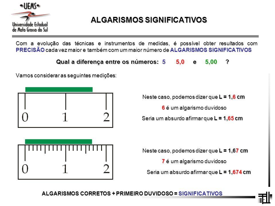 ALGARISMOS SIGNIFICATIVOS Com a evolução das técnicas e instrumentos de medidas, é possível obter resultados com PRECISÃO cada vez maior e também com