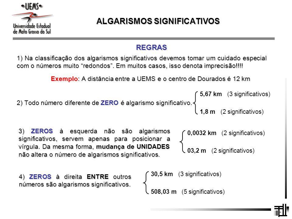 ALGARISMOS SIGNIFICATIVOS REGRAS 1) Na classificação dos algarismos significativos devemos tomar um cuidado especial com o números muito redondos. Em