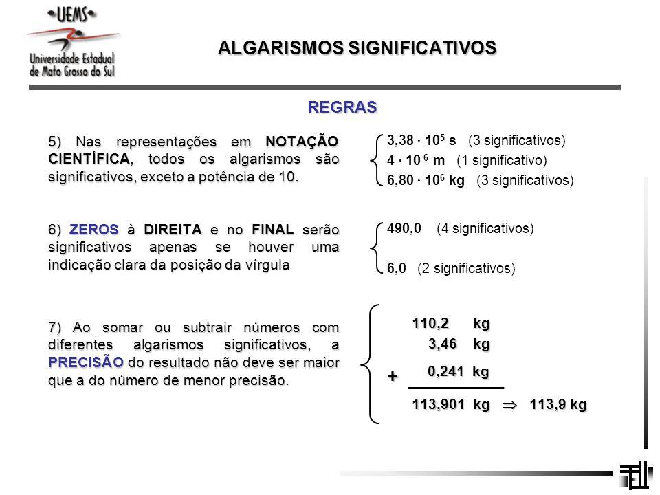 ALGARISMOS SIGNIFICATIVOS REGRAS 5) Nas representações em NOTAÇÃO CIENTÍFICA, todos os algarismos são significativos, exceto a potência de 10. 3,38 10