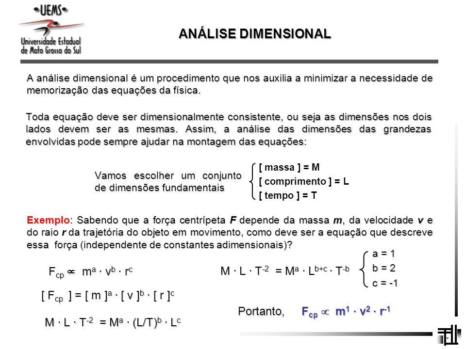 ANÁLISE DIMENSIONAL A análise dimensional é um procedimento que nos auxilia a minimizar a necessidade de memorização das equações da física. Toda equa