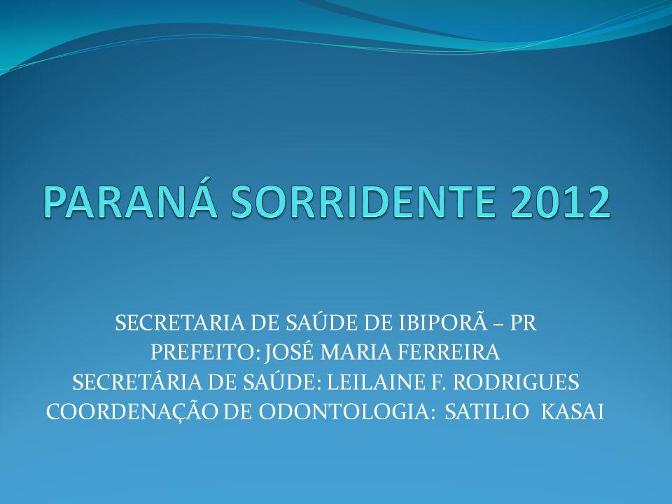 SECRETARIA DE SAÚDE DE IBIPORÃ – PR PREFEITO: JOSÉ MARIA FERREIRA SECRETÁRIA DE SAÚDE: LEILAINE F. RODRIGUES COORDENAÇÃO DE ODONTOLOGIA: SATILIO KASAI