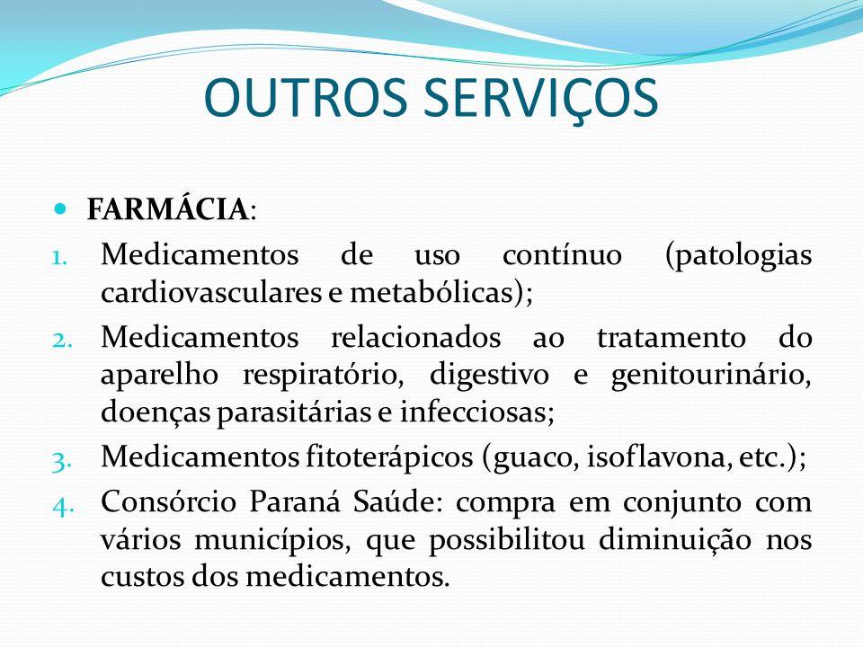 OUTROS SERVIÇOS FARMÁCIA: 1. Medicamentos de uso contínuo (patologias cardiovasculares e metabólicas); 2. Medicamentos relacionados ao tratamento do a