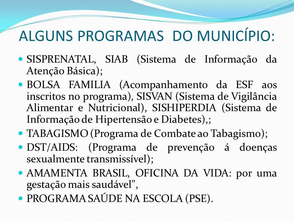 ALGUNS PROGRAMAS DO MUNICÍPIO: SISPRENATAL, SIAB (Sistema de Informação da Atenção Básica); BOLSA FAMILIA (Acompanhamento da ESF aos inscritos no prog
