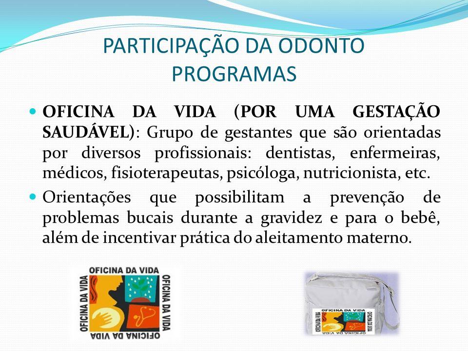 PARTICIPAÇÃO DA ODONTO PROGRAMAS OFICINA DA VIDA (POR UMA GESTAÇÃO SAUDÁVEL): Grupo de gestantes que são orientadas por diversos profissionais: dentis