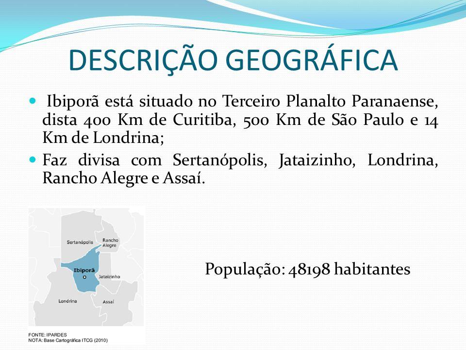 DESCRIÇÃO GEOGRÁFICA Ibiporã está situado no Terceiro Planalto Paranaense, dista 400 Km de Curitiba, 500 Km de São Paulo e 14 Km de Londrina; Faz divi