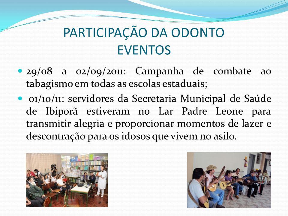 PARTICIPAÇÃO DA ODONTO EVENTOS 29/08 a 02/09/2011: Campanha de combate ao tabagismo em todas as escolas estaduais; 01/10/11: servidores da Secretaria