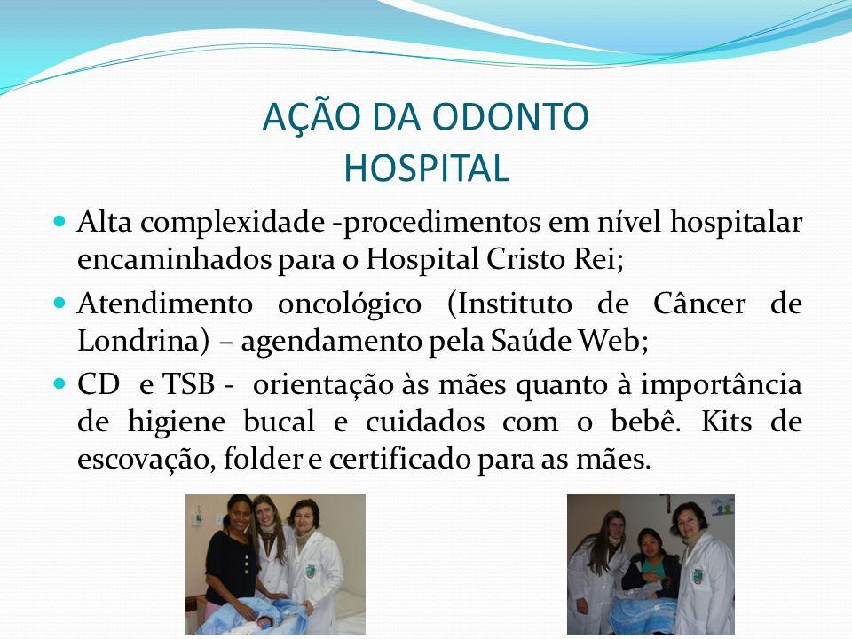 AÇÃO DA ODONTO HOSPITAL Alta complexidade -procedimentos em nível hospitalar encaminhados para o Hospital Cristo Rei; Atendimento oncológico (Institut