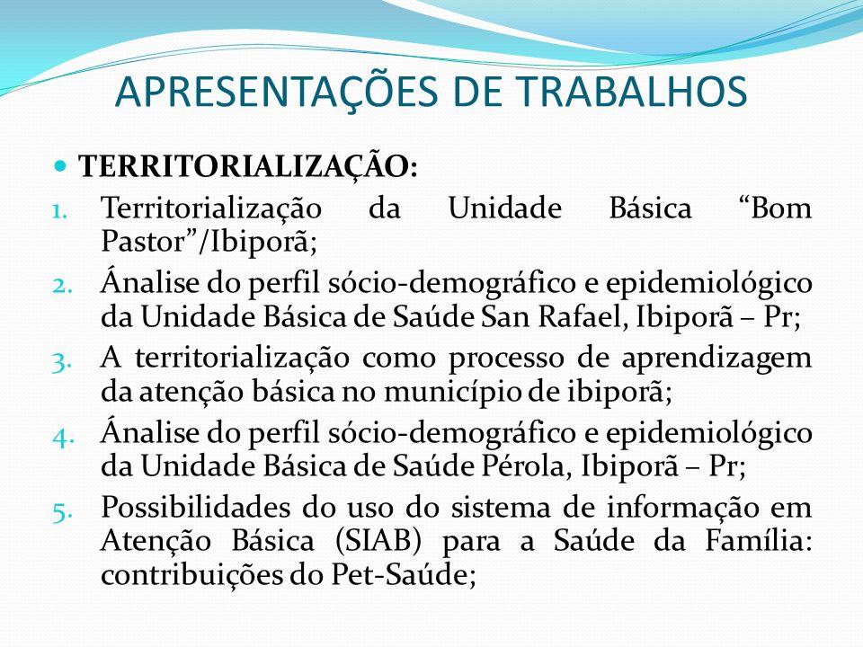 APRESENTAÇÕES DE TRABALHOS TERRITORIALIZAÇÃO: 1. Territorialização da Unidade Básica Bom Pastor/Ibiporã; 2. Ánalise do perfil sócio-demográfico e epid