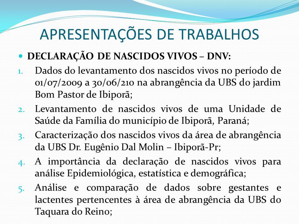 APRESENTAÇÕES DE TRABALHOS DECLARAÇÃO DE NASCIDOS VIVOS – DNV: 1. Dados do levantamento dos nascidos vivos no período de 01/07/2009 a 30/06/210 na abr