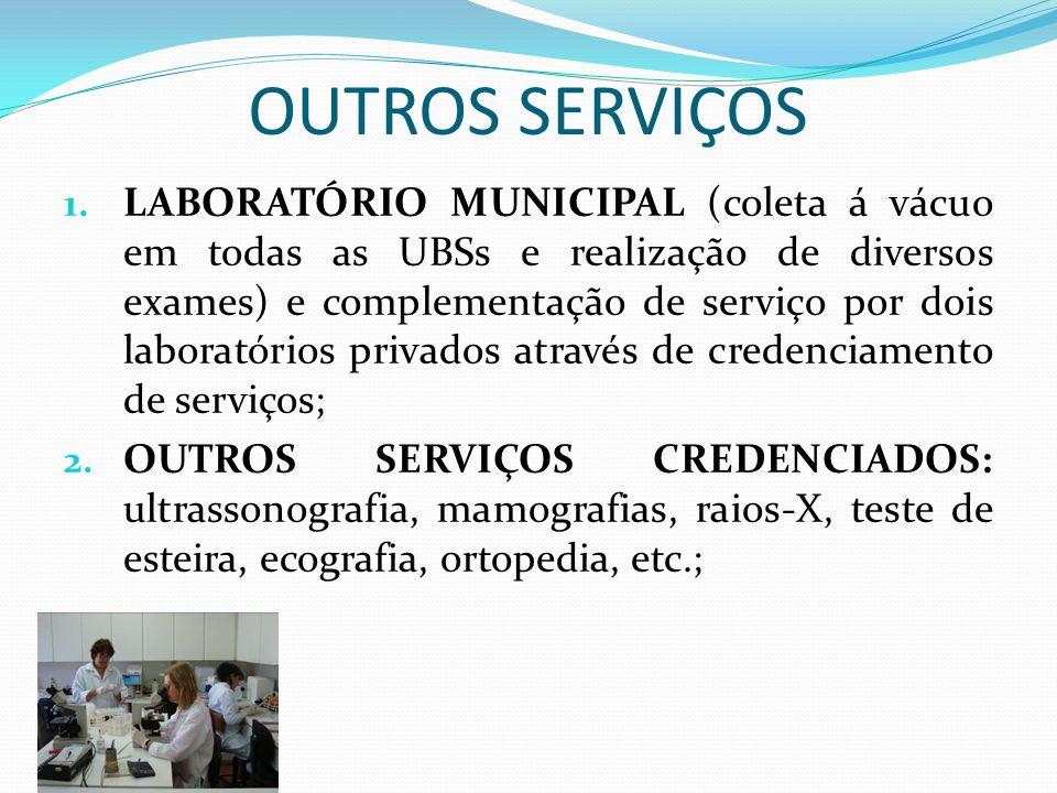 OUTROS SERVIÇOS 1. LABORATÓRIO MUNICIPAL (coleta á vácuo em todas as UBSs e realização de diversos exames) e complementação de serviço por dois labora