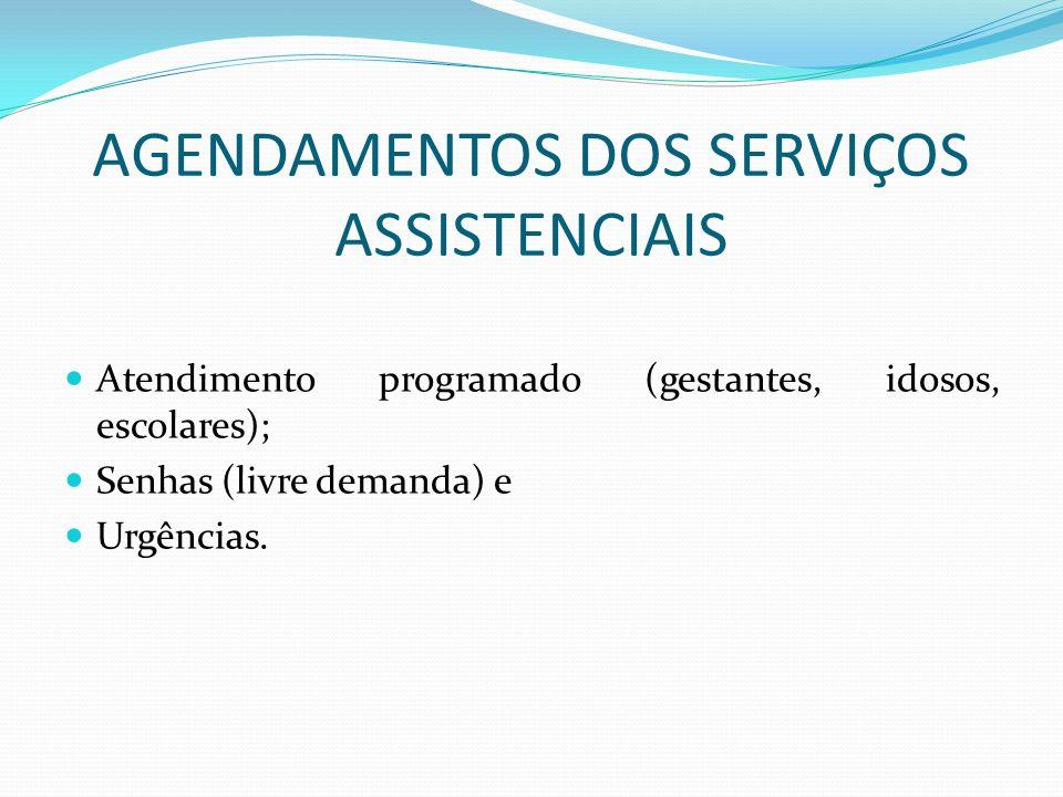 AGENDAMENTOS DOS SERVIÇOS ASSISTENCIAIS Atendimento programado (gestantes, idosos, escolares); Senhas (livre demanda) e Urgências.
