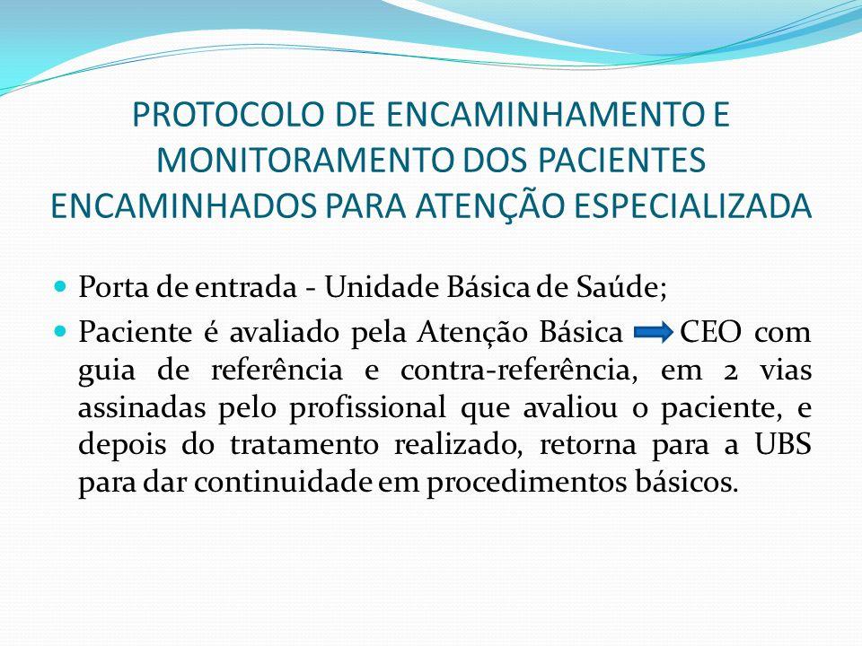 PROTOCOLO DE ENCAMINHAMENTO E MONITORAMENTO DOS PACIENTES ENCAMINHADOS PARA ATENÇÃO ESPECIALIZADA Porta de entrada - Unidade Básica de Saúde; Paciente