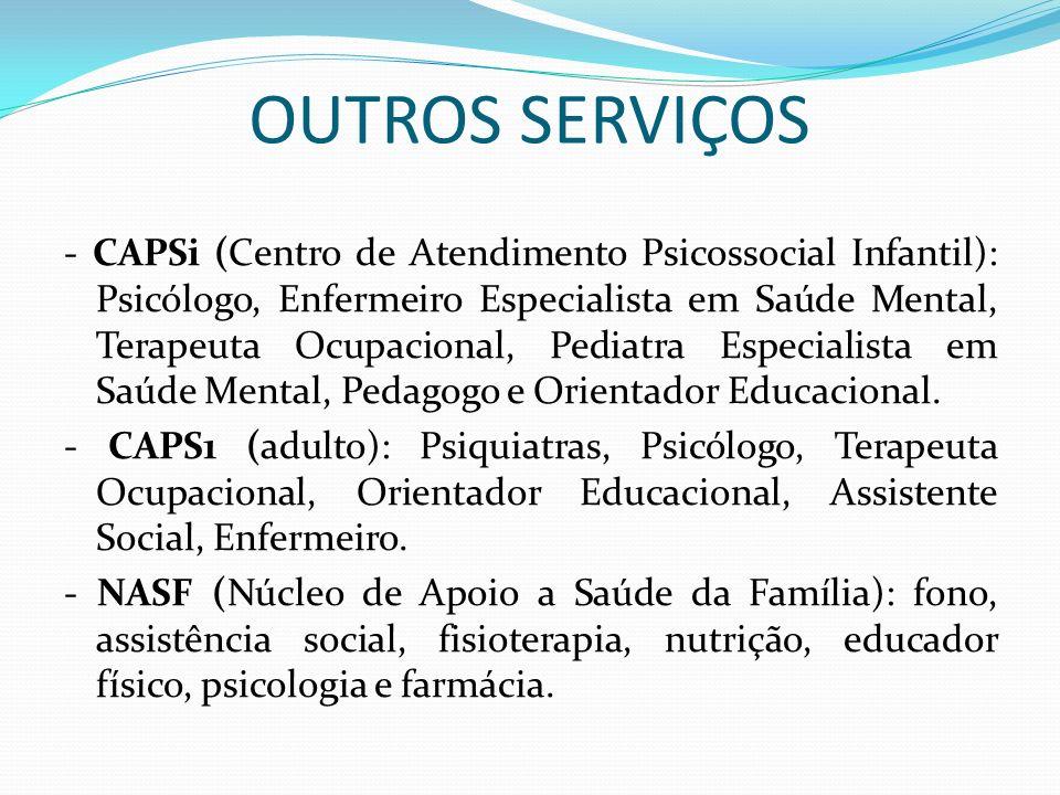 OUTROS SERVIÇOS - CAPSi (Centro de Atendimento Psicossocial Infantil): Psicólogo, Enfermeiro Especialista em Saúde Mental, Terapeuta Ocupacional, Pedi