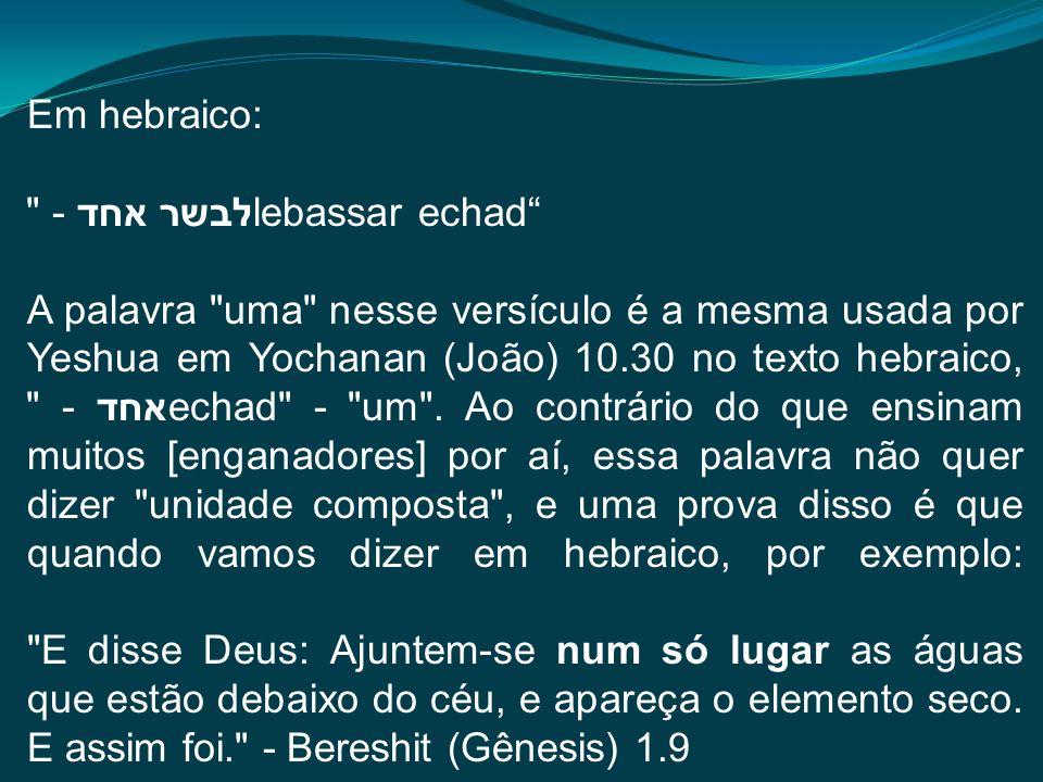 Em hebraico: לבשר אחד - lebassar echad A palavra uma nesse versículo é a mesma usada por Yeshua em Yochanan (João) 10.30 no texto hebraico, אחד - echad - um .
