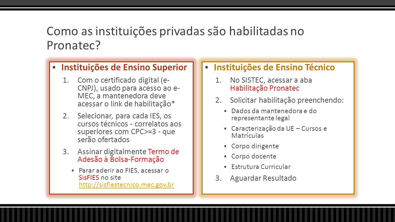 Como as instituições privadas são habilitadas no Pronatec? Instituições de Ensino Superior 1.Com o certificado digital (e- CNPJ), usado para acesso ao
