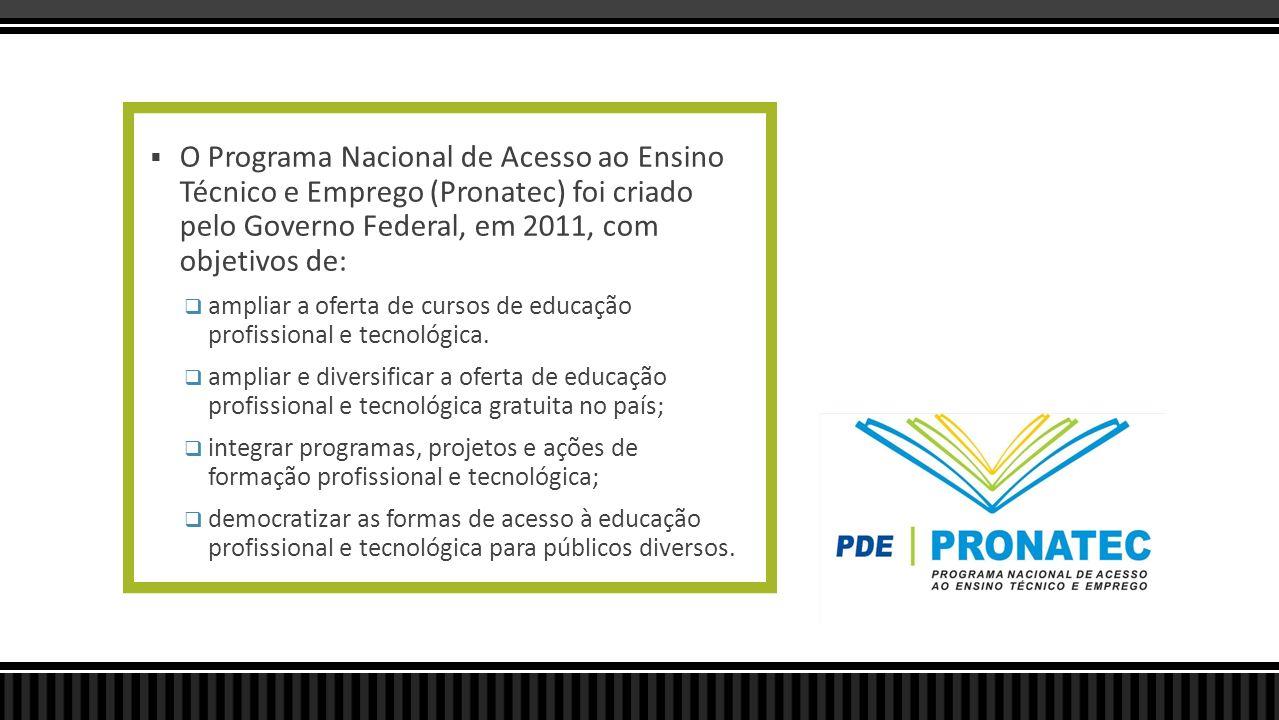 O Programa Nacional de Acesso ao Ensino Técnico e Emprego (Pronatec) foi criado pelo Governo Federal, em 2011, com objetivos de: ampliar a oferta de c