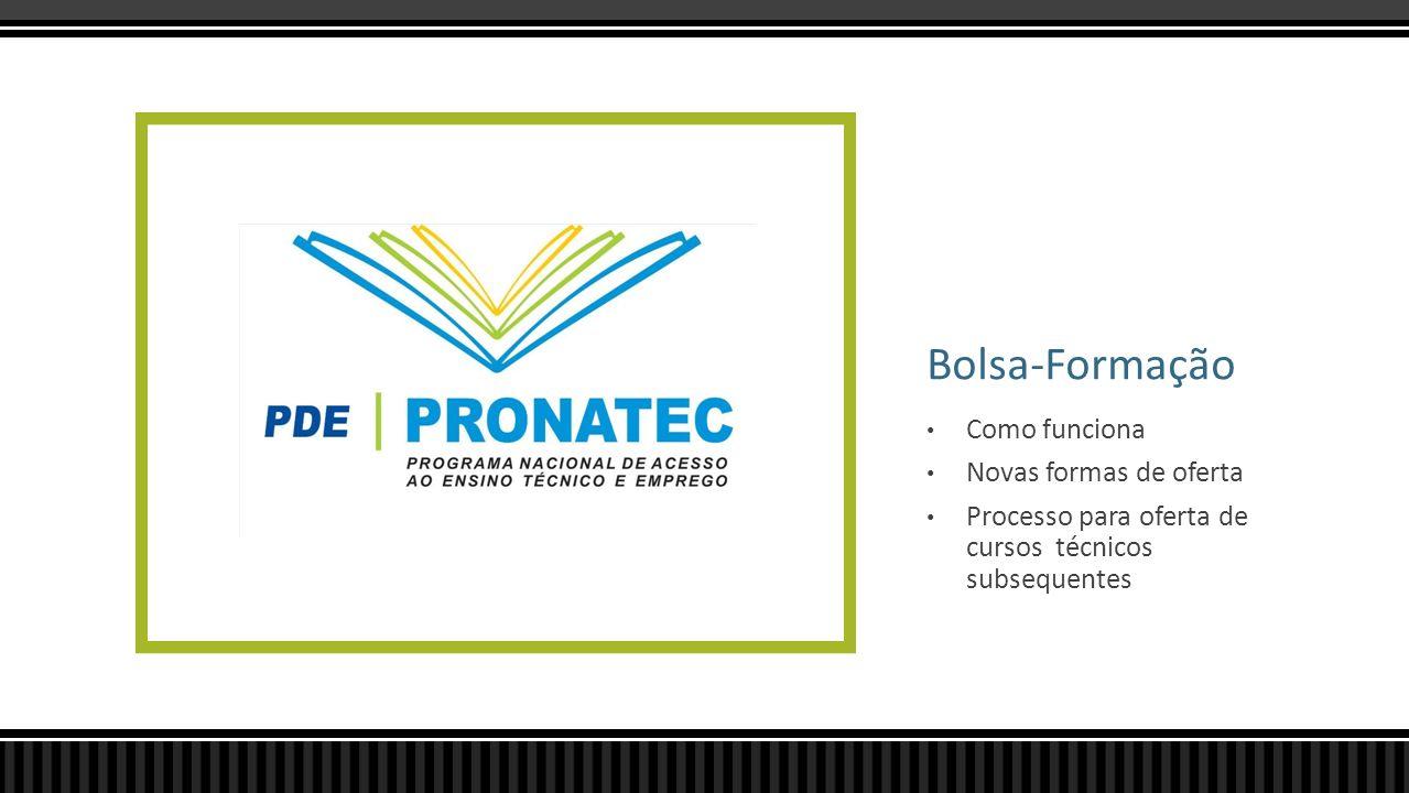 Bolsa-Formação Como funciona Novas formas de oferta Processo para oferta de cursos técnicos subsequentes