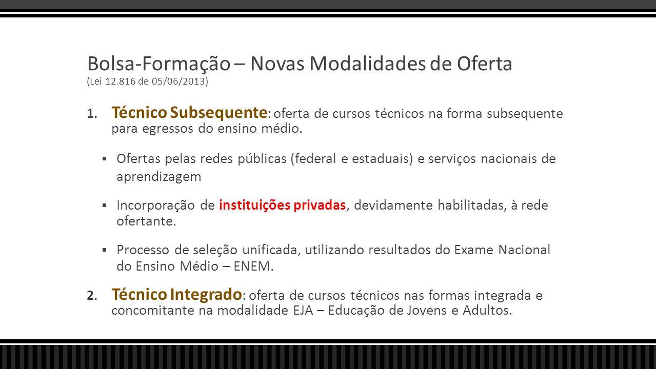 Bolsa-Formação – Novas Modalidades de Oferta (Lei 12.816 de 05/06/2013) 1. Técnico Subsequente : oferta de cursos técnicos na forma subsequente para e