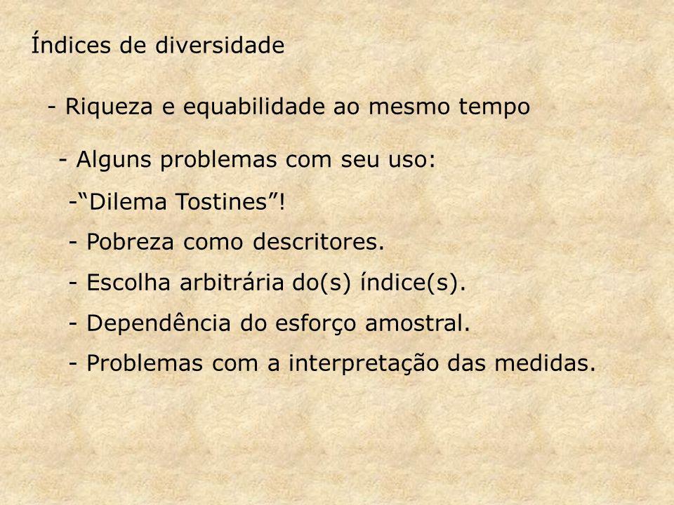 Índices de diversidade - Riqueza e equabilidade ao mesmo tempo -Dilema Tostines.