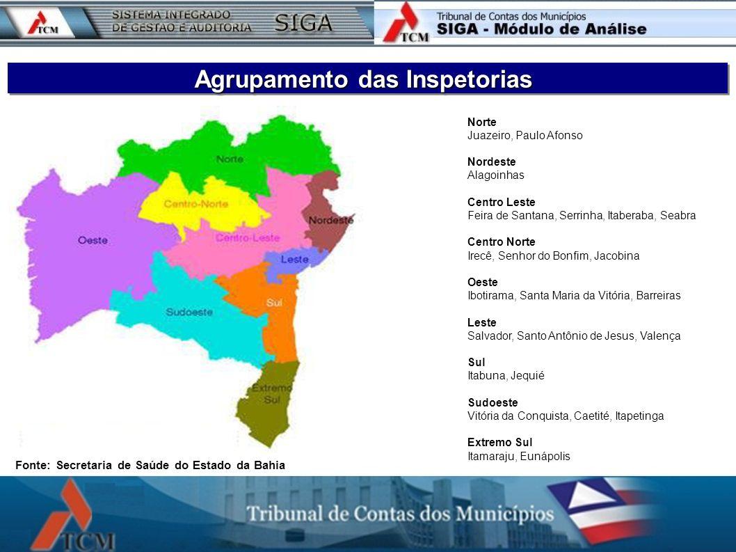 Agrupamento das Inspetorias Fonte: Secretaria de Saúde do Estado da Bahia Norte Juazeiro, Paulo Afonso Nordeste Alagoinhas Centro Leste Feira de Santa