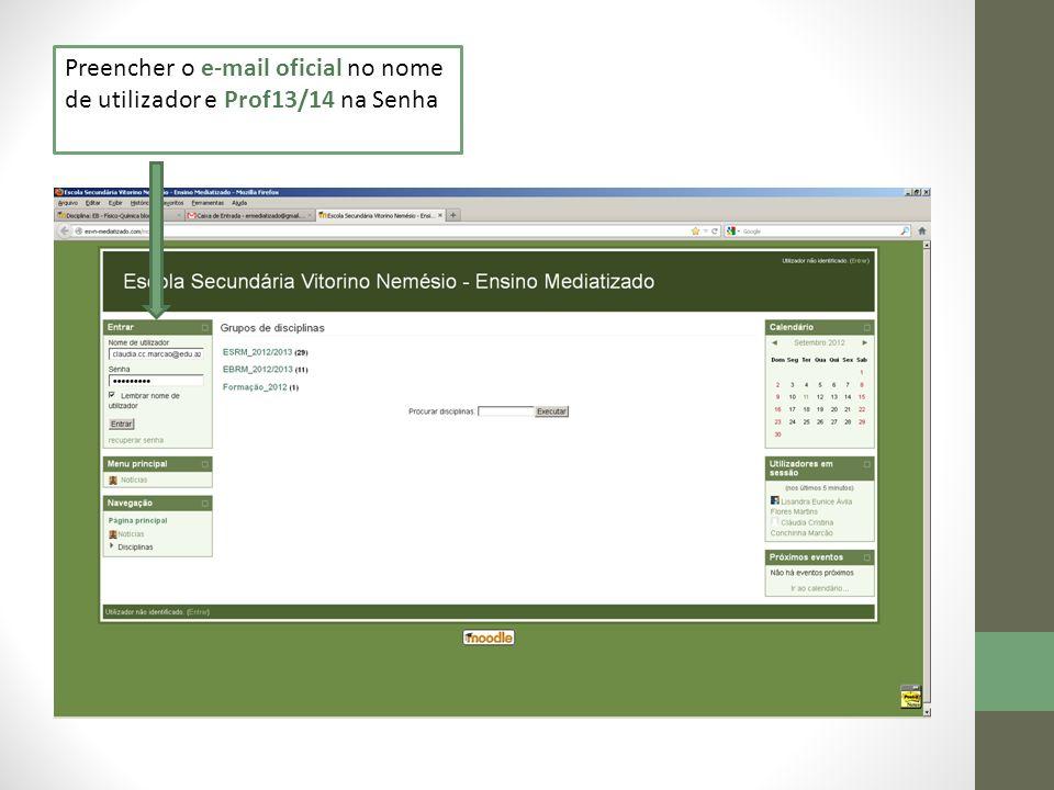 Preencher o e-mail oficial no nome de utilizador e Prof13/14 na Senha