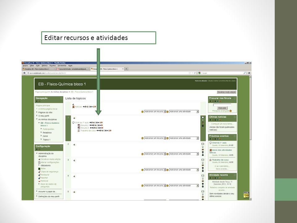 Editar recursos e atividades