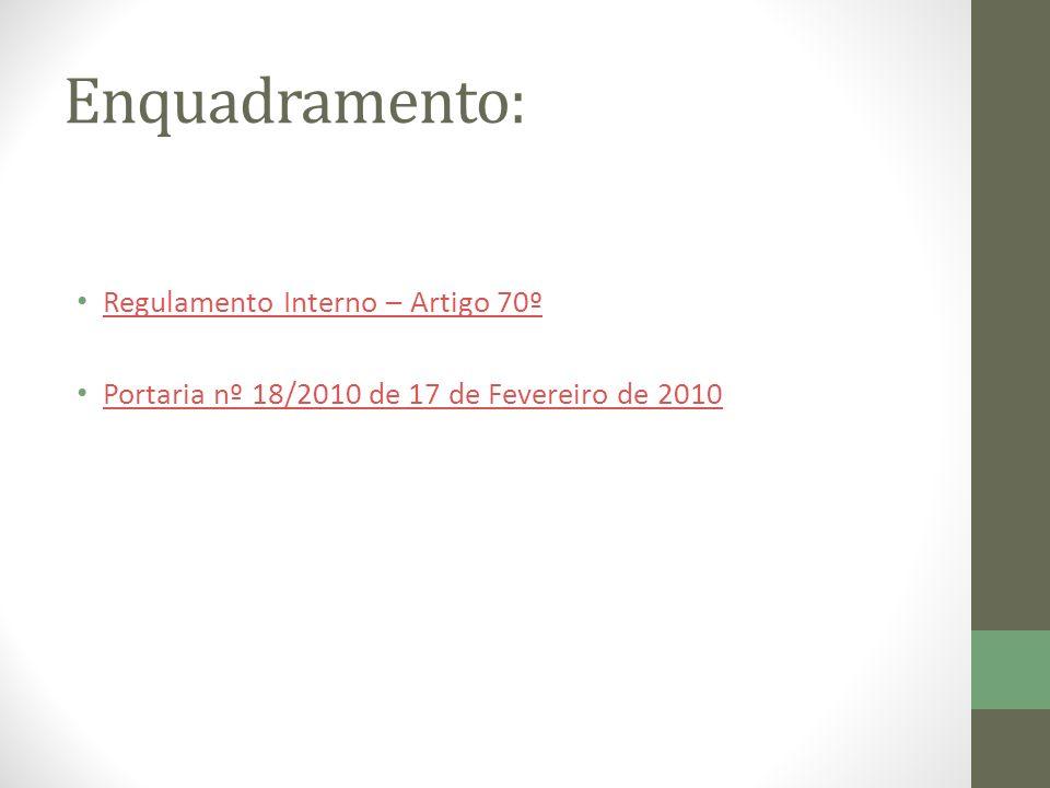 Enquadramento: Regulamento Interno – Artigo 70º Portaria nº 18/2010 de 17 de Fevereiro de 2010