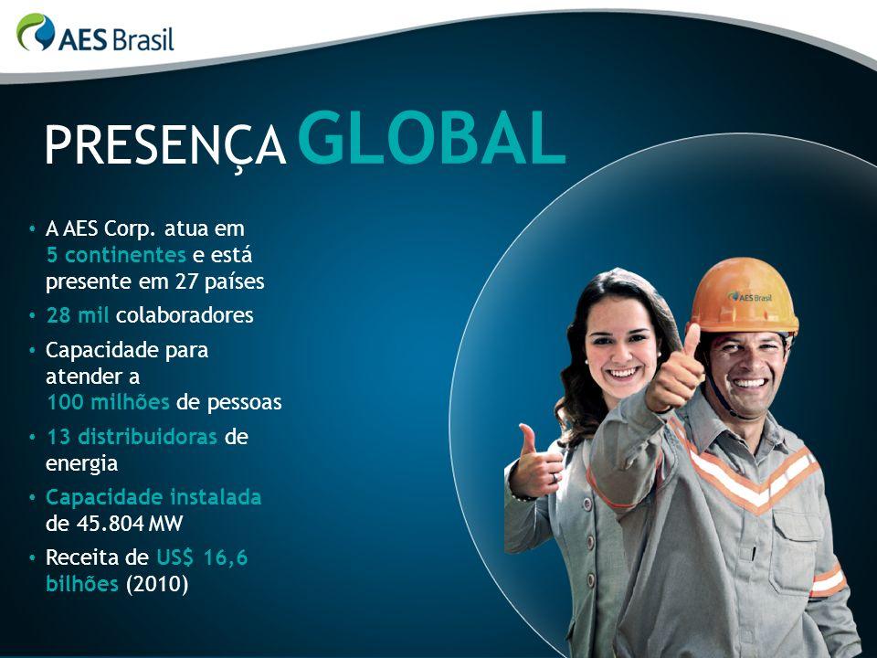 PRESENÇA GLOBAL A AES Corp. atua em 5 continentes e está presente em 27 países 28 mil colaboradores Capacidade para atender a 100 milhões de pessoas 1