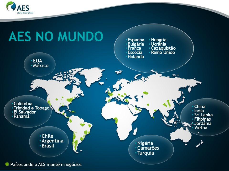 INVESTIMENTOS 1998-2010: R$ 6,5 bilhões 2011: R$ 1,1 bilhão AES NO BRASIL Presença no Brasil desde 1997 7 milhões de clientes 7,5 mil colaboradores próprios Distribuição Geração e Comercialização