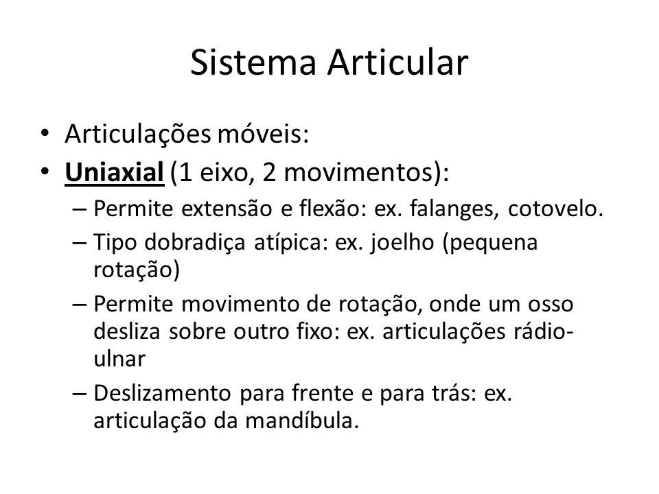 Sistema Articular Articulações móveis: Uniaxial (1 eixo, 2 movimentos): – Permite extensão e flexão: ex. falanges, cotovelo. – Tipo dobradiça atípica: