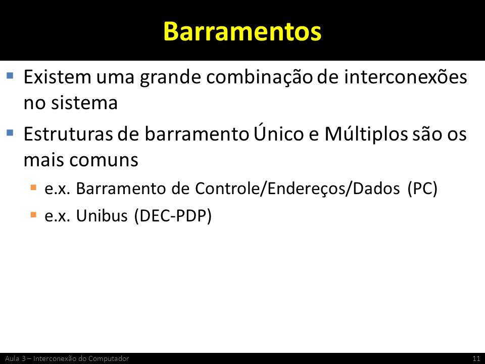 Barramentos Existem uma grande combinação de interconexões no sistema Estruturas de barramento Único e Múltiplos são os mais comuns e.x. Barramento de