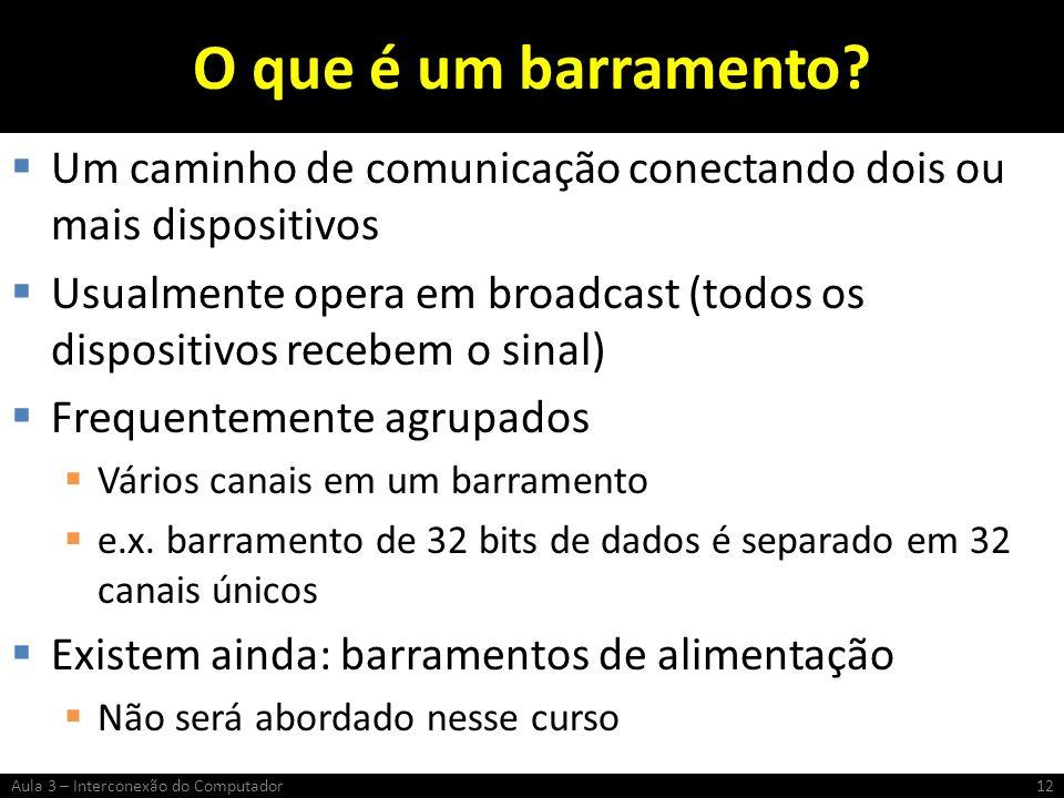O que é um barramento? Um caminho de comunicação conectando dois ou mais dispositivos Usualmente opera em broadcast (todos os dispositivos recebem o s