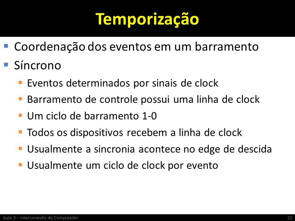 Temporização Coordenação dos eventos em um barramento Síncrono Eventos determinados por sinais de clock Barramento de controle possui uma linha de clo
