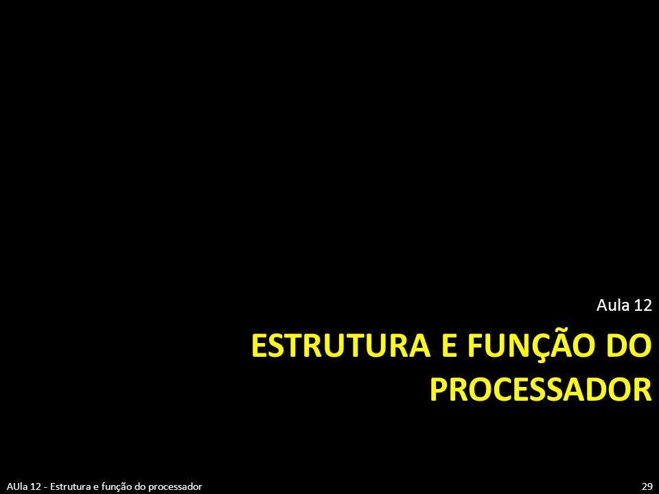 ESTRUTURA E FUNÇÃO DO PROCESSADOR Aula 12 29AUla 12 - Estrutura e função do processador