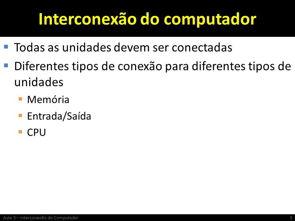 Interconexão do computador Todas as unidades devem ser conectadas Diferentes tipos de conexão para diferentes tipos de unidades Memória Entrada/Saída