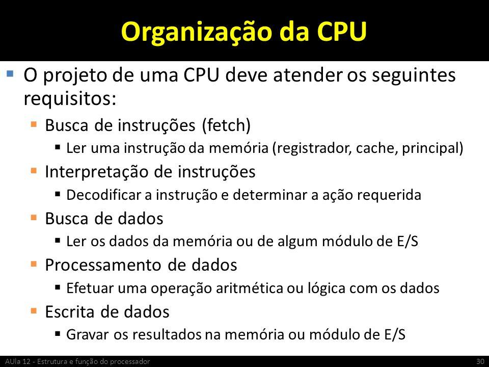 Organização da CPU O projeto de uma CPU deve atender os seguintes requisitos: Busca de instruções (fetch) Ler uma instrução da memória (registrador, c