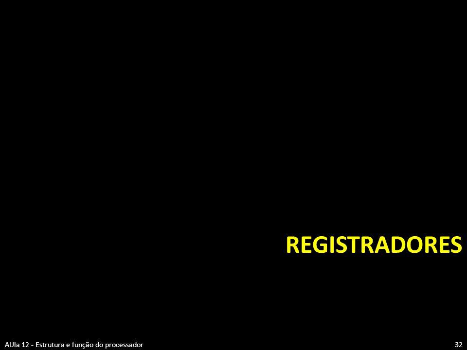 REGISTRADORES 32AUla 12 - Estrutura e função do processador