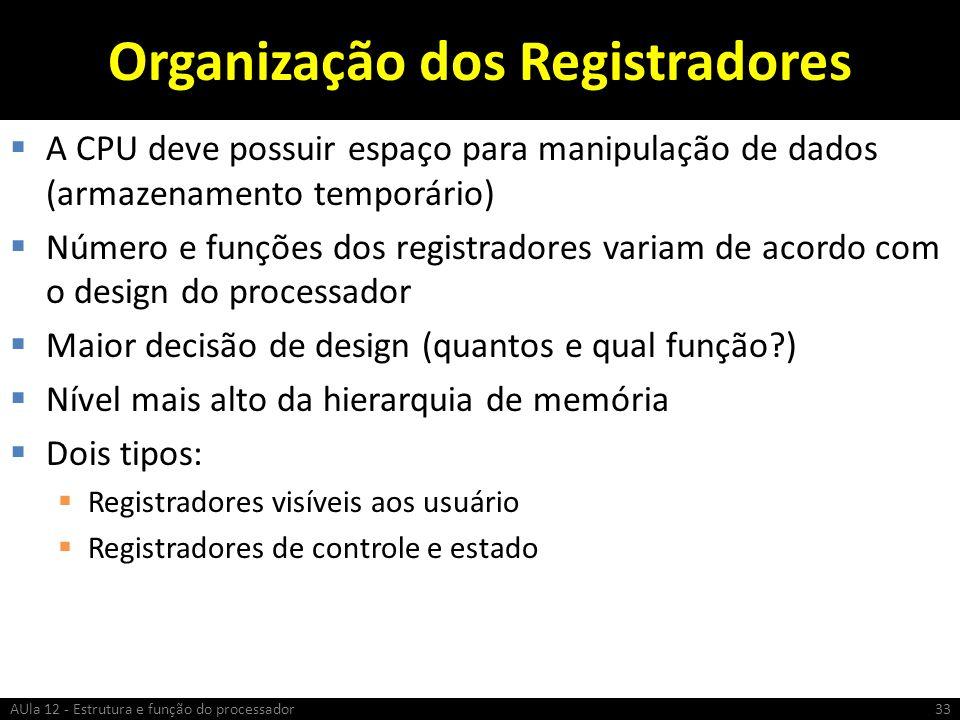 Organização dos Registradores A CPU deve possuir espaço para manipulação de dados (armazenamento temporário) Número e funções dos registradores variam
