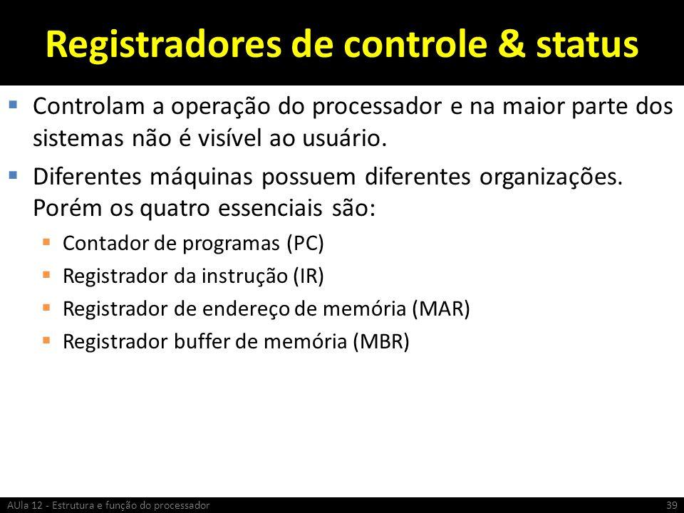 Registradores de controle & status Controlam a operação do processador e na maior parte dos sistemas não é visível ao usuário. Diferentes máquinas pos