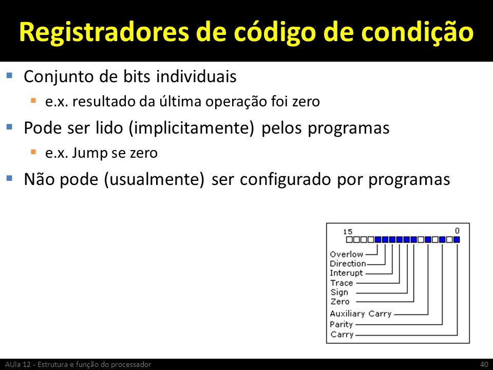 Registradores de código de condição Conjunto de bits individuais e.x. resultado da última operação foi zero Pode ser lido (implicitamente) pelos progr