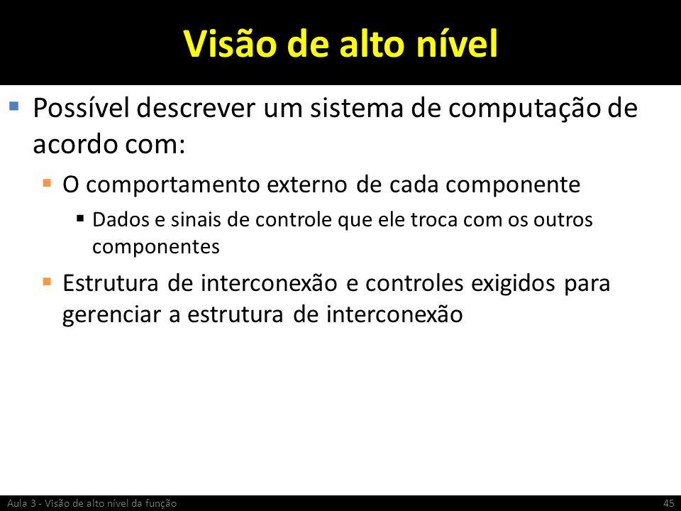 Visão de alto nível Possível descrever um sistema de computação de acordo com: O comportamento externo de cada componente Dados e sinais de controle q