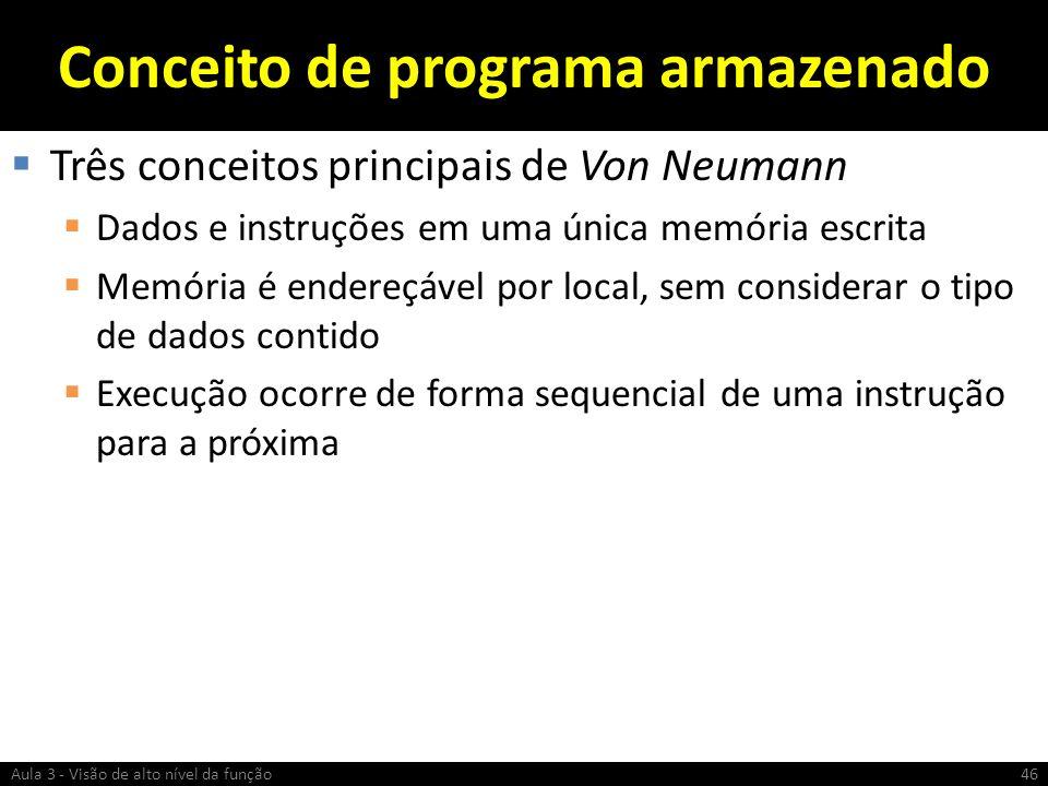 Conceito de programa armazenado Três conceitos principais de Von Neumann Dados e instruções em uma única memória escrita Memória é endereçável por loc