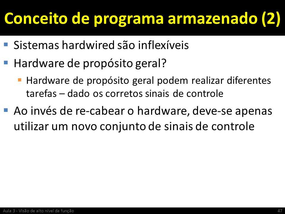 Conceito de programa armazenado (2) Sistemas hardwired são inflexíveis Hardware de propósito geral? Hardware de propósito geral podem realizar diferen