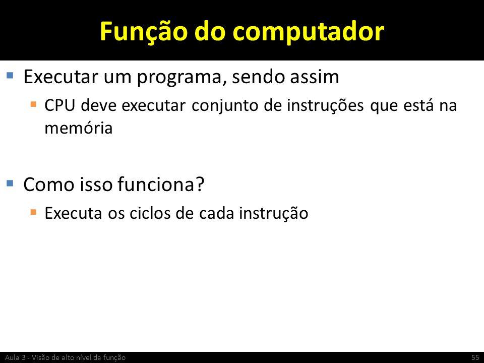 Função do computador Executar um programa, sendo assim CPU deve executar conjunto de instruções que está na memória Como isso funciona? Executa os cic
