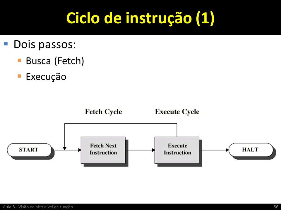 Ciclo de instrução (1) Dois passos: Busca (Fetch) Execução 56Aula 3 - Visão de alto nível da função