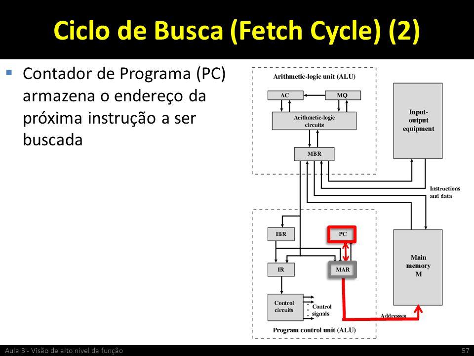 Ciclo de Busca (Fetch Cycle) (2) Contador de Programa (PC) armazena o endereço da próxima instrução a ser buscada Aula 3 - Visão de alto nível da funç