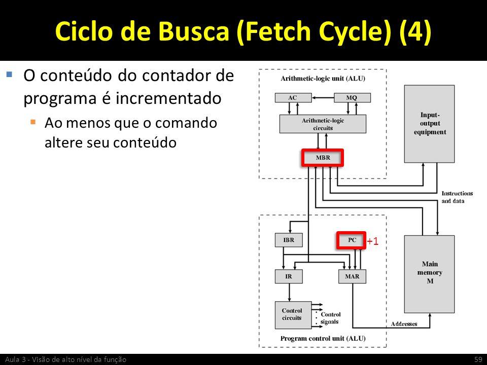 Ciclo de Busca (Fetch Cycle) (4) O conteúdo do contador de programa é incrementado Ao menos que o comando altere seu conteúdo Aula 3 - Visão de alto n