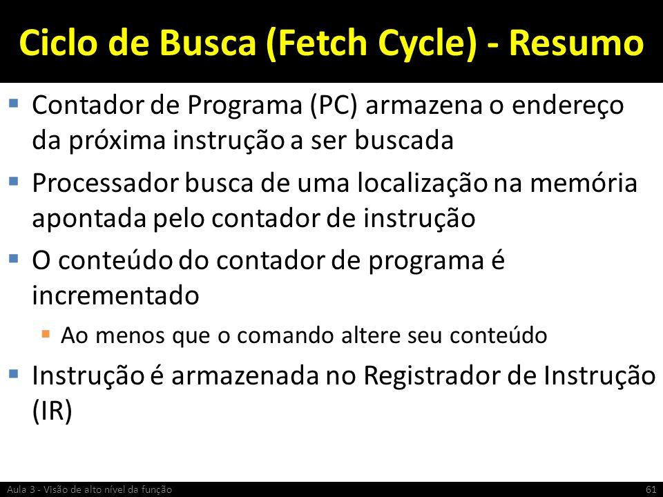 Ciclo de Busca (Fetch Cycle) - Resumo Contador de Programa (PC) armazena o endereço da próxima instrução a ser buscada Processador busca de uma locali